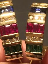 Estate 14k Yellow Gold Over Emerald Ruby Sapphire Diamond Omega clip earrings