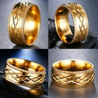 8mm Stainless Steel Gold Plated Cross Pattern Mens Ring Women Band (Size M to X)