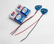 2 Pcs 9V EW Battery Carbon Zinc Battery + 2 Pcs Connector Wire Soft Clip