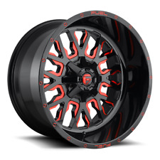(4) 20x10 Fuel Gloss Black & Red Stroke Wheels 6X135 & 6X139.7 For Ford Jeep