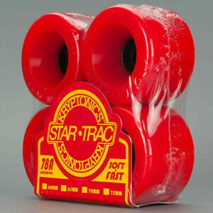 75mm STAR-TRAC KRYPTONICS Skateboard Wheels - Red Kryps - Classic Cruiser Wheel
