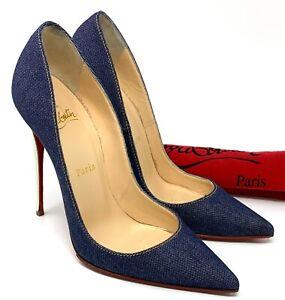 Authentic Christian Louboutin Denim Heels #38 US 7.5 Dark Blue White RankAB