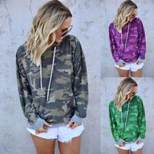 Women Long Sleeve Hooded Sweatshirt Camouflage Casual Hoodies Top Loose Pullover