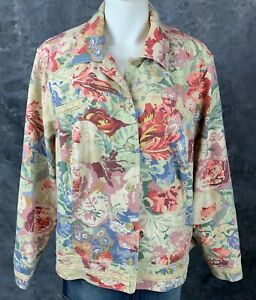 Coldwater Creek Multi Colored Floral Print 6 Button Cotton Jacket sz 2X (9069)