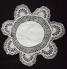 """SUPERB VINTAGE HAIRPIN LACE DOILY in WHITE  11"""""""