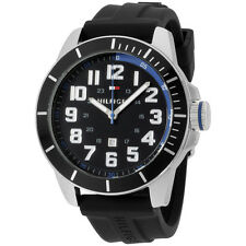 Tommy Hilfiger Men's 1791072 Black Silicone Analog Quartz 46 mm Watch