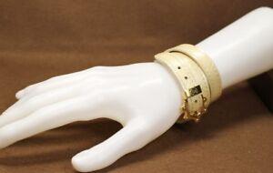 LOUIS VUITTON Vernis Triple Tour Long Bangle Bracelet Beige M91403