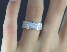 14k Oro Blanco invisible 1.50ct Anillo De Diamantes Corte Princesa Cóctel 6