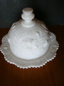 Vintage 1950-71 Imperial Glass Rose, Milk Glass Round Covered Butter Dish