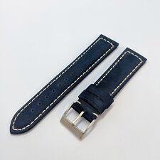 20mm Nubuck Suede Leather 2 Piece Watch Strap - Navy Blue