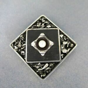 Seltene Modernismus Brooch IN Silver with Pearl And Black Bog Unicum