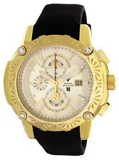 Aqua Master Nicky Jam Gold Dial Black Rubber Band Mens Diamond Watch W#NJ102