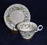 Shelley China, 13544 Blue Flowers, HAREBELL, Footed Cup & Saucer Set