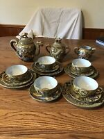 Japan Dragonware Moriage Tea Set Pot Creamer Sugar Plates ETC Vintage