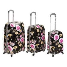 3 Pc Upright LUGGAGE SET Hardsided Black Pink Floral Spinner Vera-type pattern