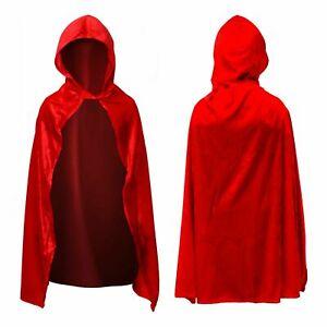 Kids Velvet Little Red Riding Hood Superhero World Book Day Fancy Dress Cape