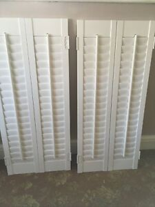 4 X Large Wooden Louvre Shutters Window White - 2 Pairs