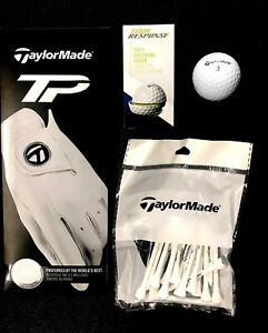 MENS TAYLORMADE TP LEATHER GLOVE+ TOUR GOLF BALLS & TAYLORMADE TEE PEGS GIFT SET