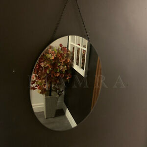 Oval Hanging Mirror Smoked Glass Hanging Wall Mirror Oval Wall Art Smokey Mirror