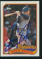 1989 Topps #517 Greg Brock Milwaukee Brewers Signed Autograph Auto