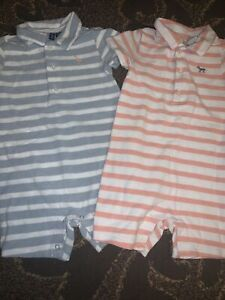 2 Baby Boys Janie and Jack Romper clothes sz 12-18 months