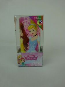 "Disney Princes Flameless Color Changing LED Candle ~Ariel Cinderella Belle~ 5"""
