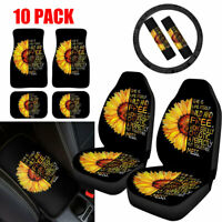 Sunflower Black Car Seat Covers with Floor Mats,Steering Wheel/Console Cover 10x