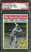 1976 Topps #342 Rogers Hornsby All Time All - Star PSA 7 NM