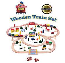 Wooden Train Set 100 Pc   2 TRAINS  Triple Loop Track Brio Thomas Compatible USA