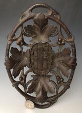 Antique Swiss Carved Black Forest Fruit Tray Bowl Basket #2 w/ Grape Vine Motif