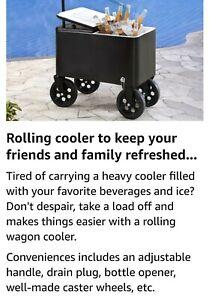 Sunjoy Audrey 60 Quart Cooler Cart Black