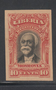 Liberia # F13 IMPERF COLOR TRIAL in RED On Gray Paper 1903 Registration Set
