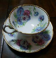 Royal Stuart Spencer Stevenson Bone China Cup & Saucer England Floral-Gold Trim