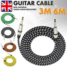 Guitar Amp Lead Cable 6.35mm Mono Jack Plug 6.3mm Keyboard 1/4 Straight - 24AWG