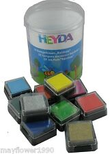 HEYDA Rainbow INK PADS set of 10 includes silver gold red green blue and more