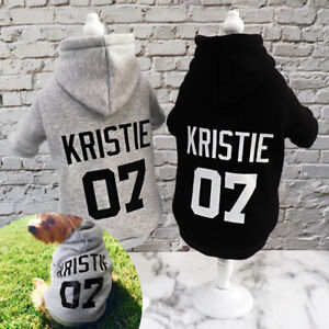 Custom Personalized Design Dog Hoodie Sweatshirt Pet Name Clothes Gray Black