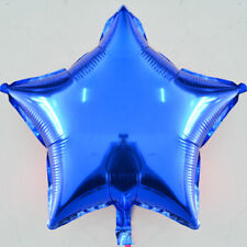 Light Blue Plain Coloured Star Foil Balloons Helium Quality Birthday Wedding