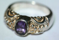 Glam Designer Women's 1 CT Amethyst 925 Sterling Silver Gold Wash Ring Sz 6.75