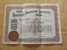 VINTAGE OLD STAMPS 1917 AMERICAN PHILATELIC SOCIETY ONE SHARE STOCK CERTIFICATE