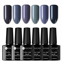 UR SUGAR 6 Bottles Nagel Gellack Soak off Nail Gel UV Nagellack Nail Art Grau