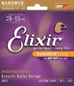 Elixir Nanoweb 11-52 Phosphor Bronze Acoustic GUITAR STRINGS Custom Light 16027