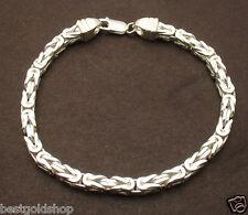 "9"" Mens 5mm Solid Square Byzantine Bracelet Lobster Clasp Solid Brass 26.8gr"
