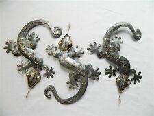Gecko Wall Art Ornament - Metal Geckos Lizard Wall Hanging - Set of 3 Silver