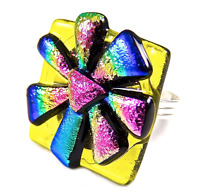 """Cocktail RING Adjustable DICHROIC Fused Glass Yellow Blue Pink Rainbow Flower 1"""""""