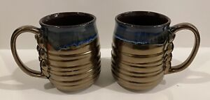 La Rochelle Tall Artison Handcrafted Stoneware Blue/brass Mugs (2) Two