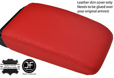 RED TOP GRAIN REAL LEATHER ARMREST LID COVER FOR VW GOLF MK5 MK6 2004-2013