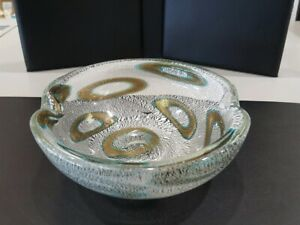 MURANO GLASS A.V.E.M. SILVER AND GOLD OIL SPOT ASHTRAY