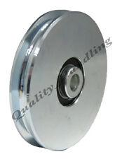 CANCELLO Ruota Puleggia DISCO 120mm ROUND FUNE scanalatura Ruota in acciaio per Filo o FUNE
