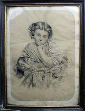 Grenier :Tableau Dessin Napoléon III Jeune fille Chevrot et raisin signé Bélicot