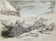 COLOR AQUATINT British 1804 ~ RUSSIAN WOLF HUNT ~ Antique J. AUGUSTUS ATKINSON